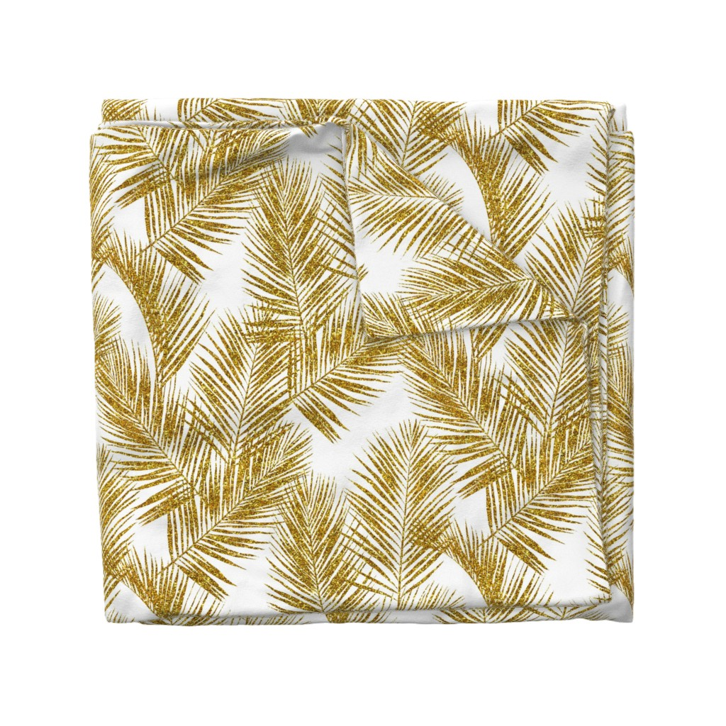 Wyandotte Duvet Cover featuring gold glitter palm leaves - white, large.   silhuettes faux gold imitation tropical forest white background hot summer palm plant leaves shimmering metal effect texture fabric wallpaper giftwrap by mirabelle_print