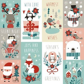 christmas stickers/gift wrap with cute woodland animals, santa claus, snowman and poinsettia