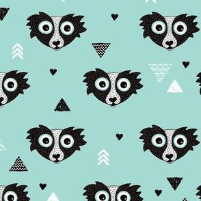 Geometric woodland scandinavian blue skunk animal illustration arrows print