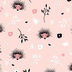 Soft pink hedgehog flowers spring illustration print for girls