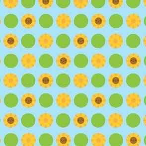 Kawaii Sunflower Polka Dots (Blue)