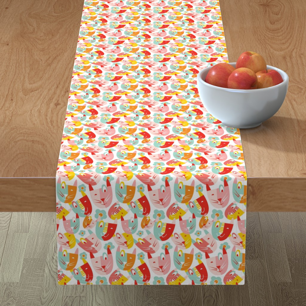 Minorca Table Runner featuring Modern Cubist Kitty - Retro Colorful Cats by heatherdutton