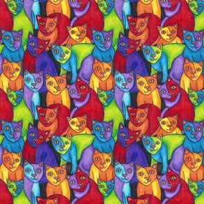 Rainbow Cubist Cats