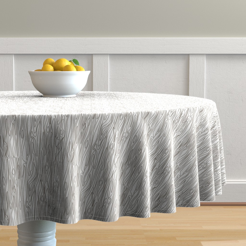 Malay Round Tablecloth featuring Woodgrain - White with Brown Grain - small scale by papercanoefabricshop