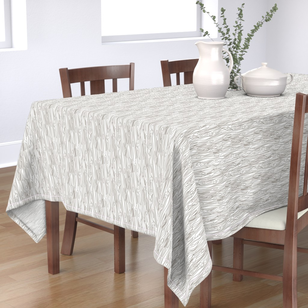 Bantam Rectangular Tablecloth featuring Woodgrain - White with Brown Grain - small scale by papercanoefabricshop