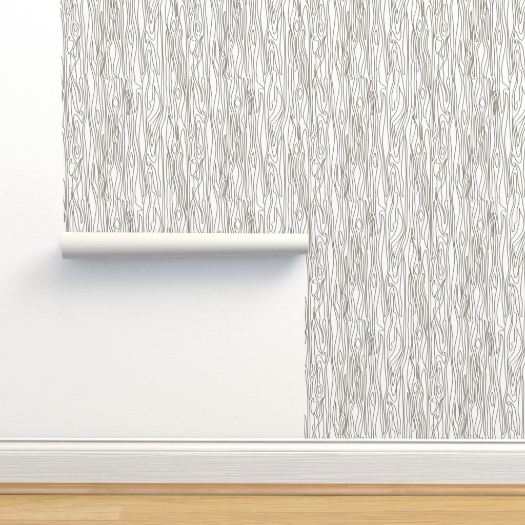 Isobar Durable Wallpaper featuring Woodgrain - White with Brown Grain - small scale by papercanoefabricshop