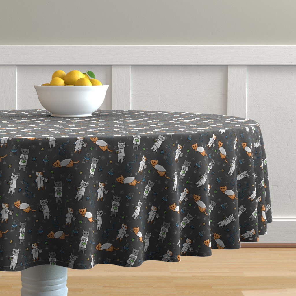 Malay Round Tablecloth featuring Science Cats by amber_morgan