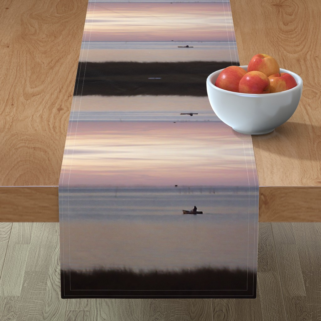 Minorca Table Runner featuring kayakin at Sunset by kittykittypurrs