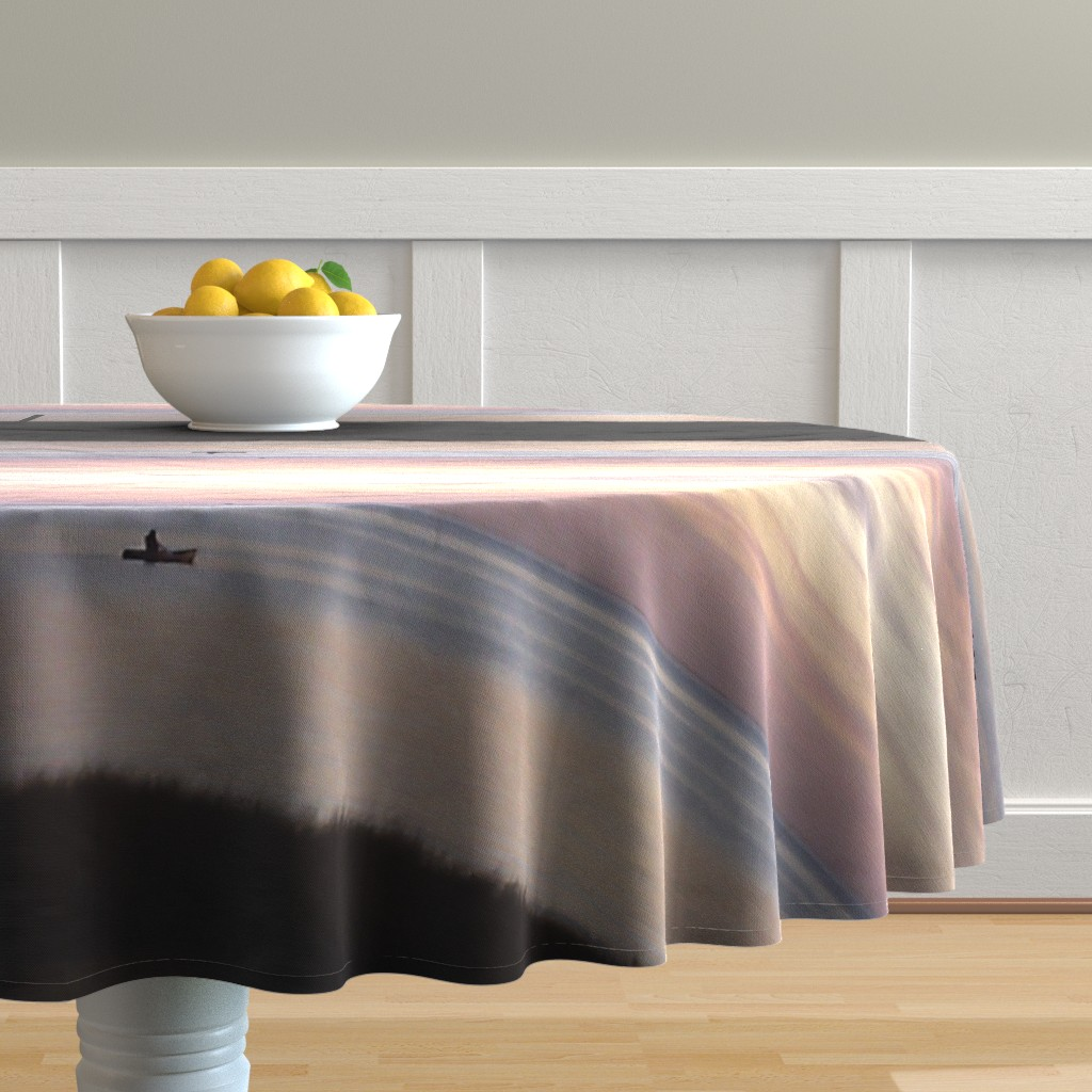 Malay Round Tablecloth featuring kayakin at Sunset by kittykittypurrs