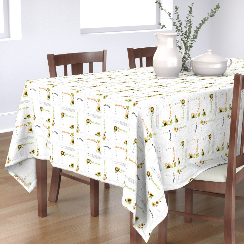 Bantam Rectangular Tablecloth featuring RPQuilt_F abric Labels_BeeHappy by robinpickens