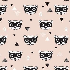 geometric woodland animals raccoon skunk geometric arrows gender neutral kids design