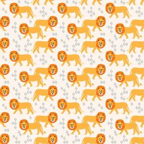 Safari Lion - Champagne/Turmeric/Cadmium Orangeby Andrea Lauren (Smaller)