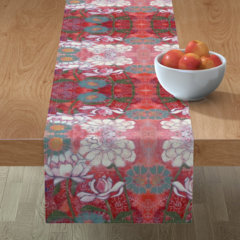 Minorca Table Runner featuring White Floral with Border by maria_pezzano