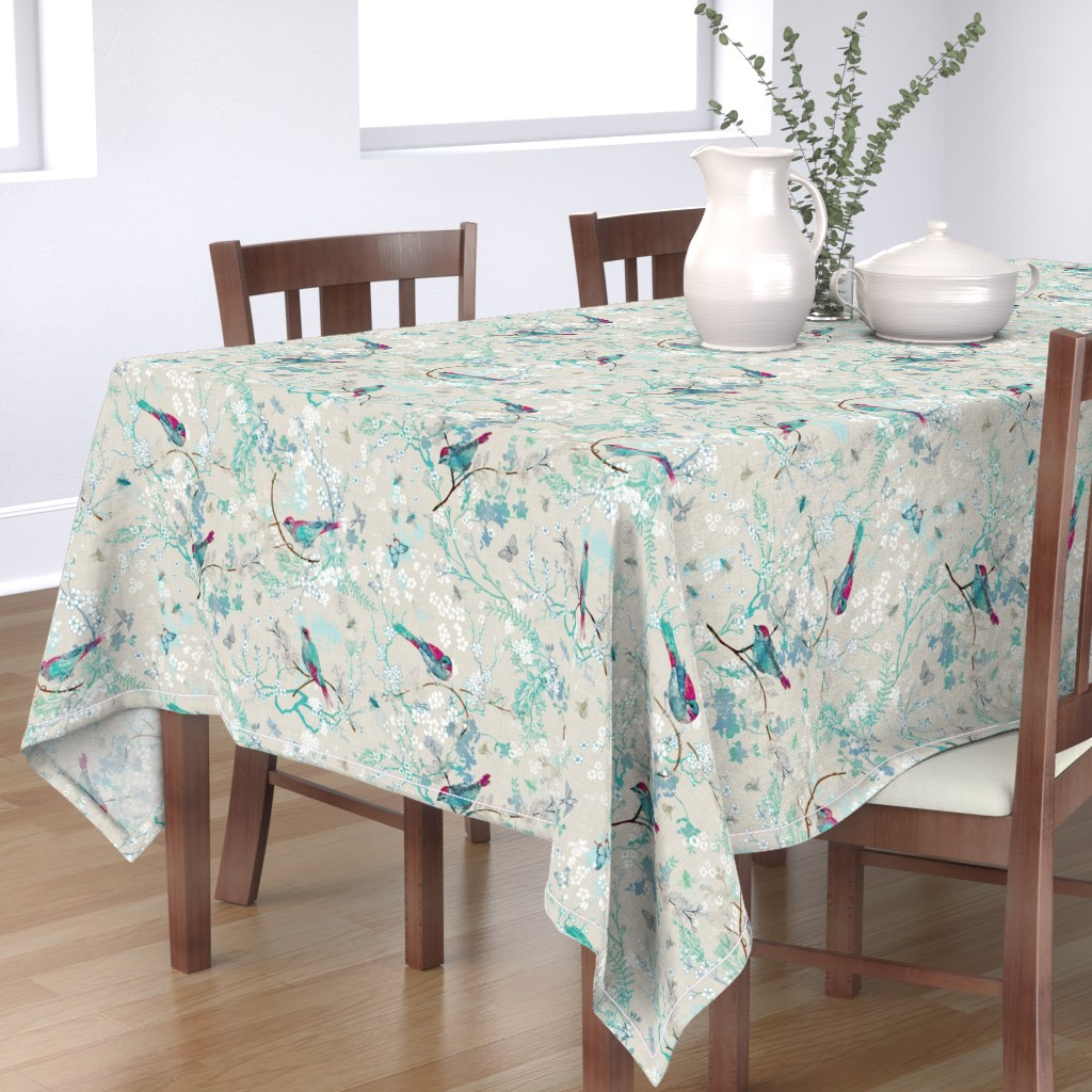 Bantam Rectangular Tablecloth featuring Birds + the Bees  (Aqua) MED by nouveau_bohemian