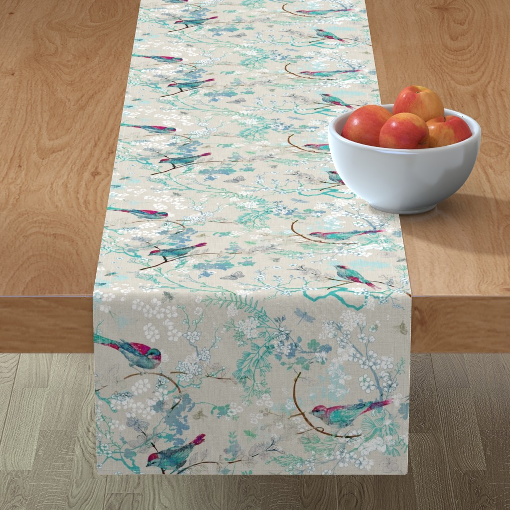 Minorca Table Runner featuring Birds + the Bees  (Aqua) MED by nouveau_bohemian