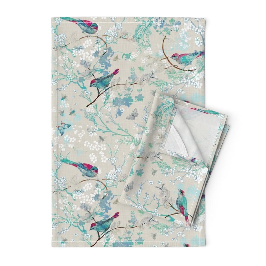 Orpington Tea Towels featuring Birds + the Bees  (Aqua) MED by nouveau_bohemian