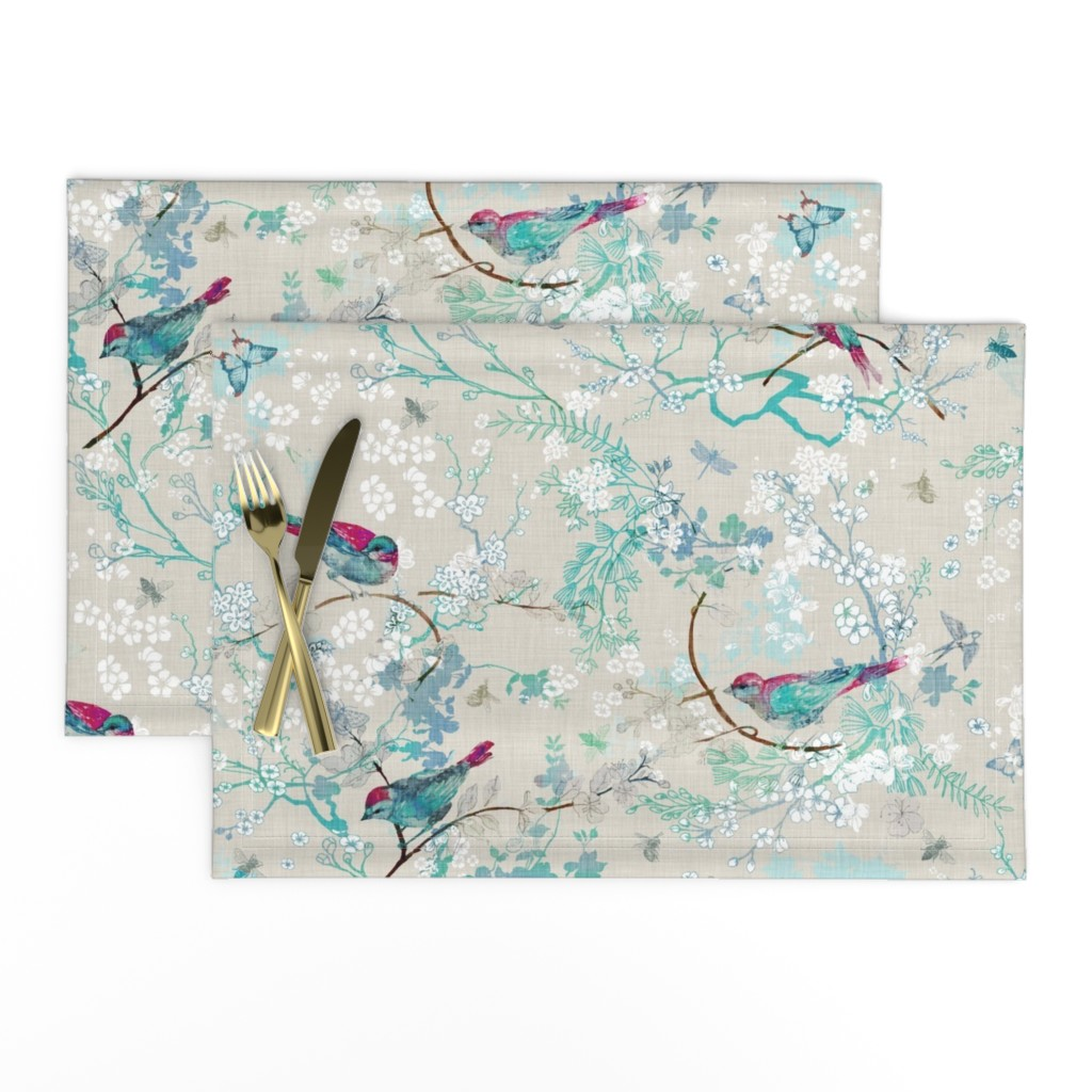 Lamona Cloth Placemats featuring Birds + the Bees  (Aqua) MED by nouveau_bohemian