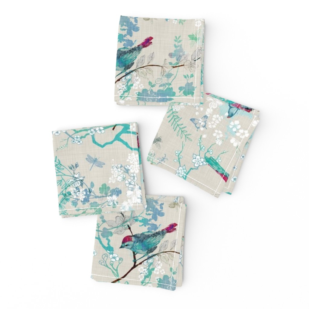 Frizzle Cocktail Napkins featuring Birds + the Bees  (Aqua) MED by nouveau_bohemian