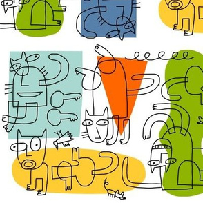 cubist cats outline
