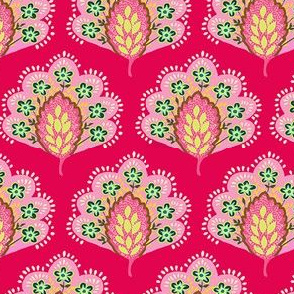 Peacock Leaf raspberry and pink