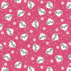 Cute ditzy sheep pattern in hot pink