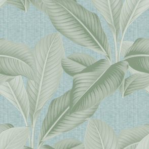 Palm In Palm ~ Sage on Steel Linen Luxe
