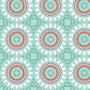 Coral, Mint, Black and White Kaleidoscope