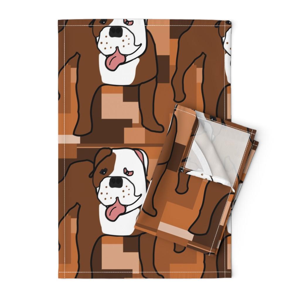 Orpington Tea Towels featuring Freddy the Crazy Bulldog by missyq