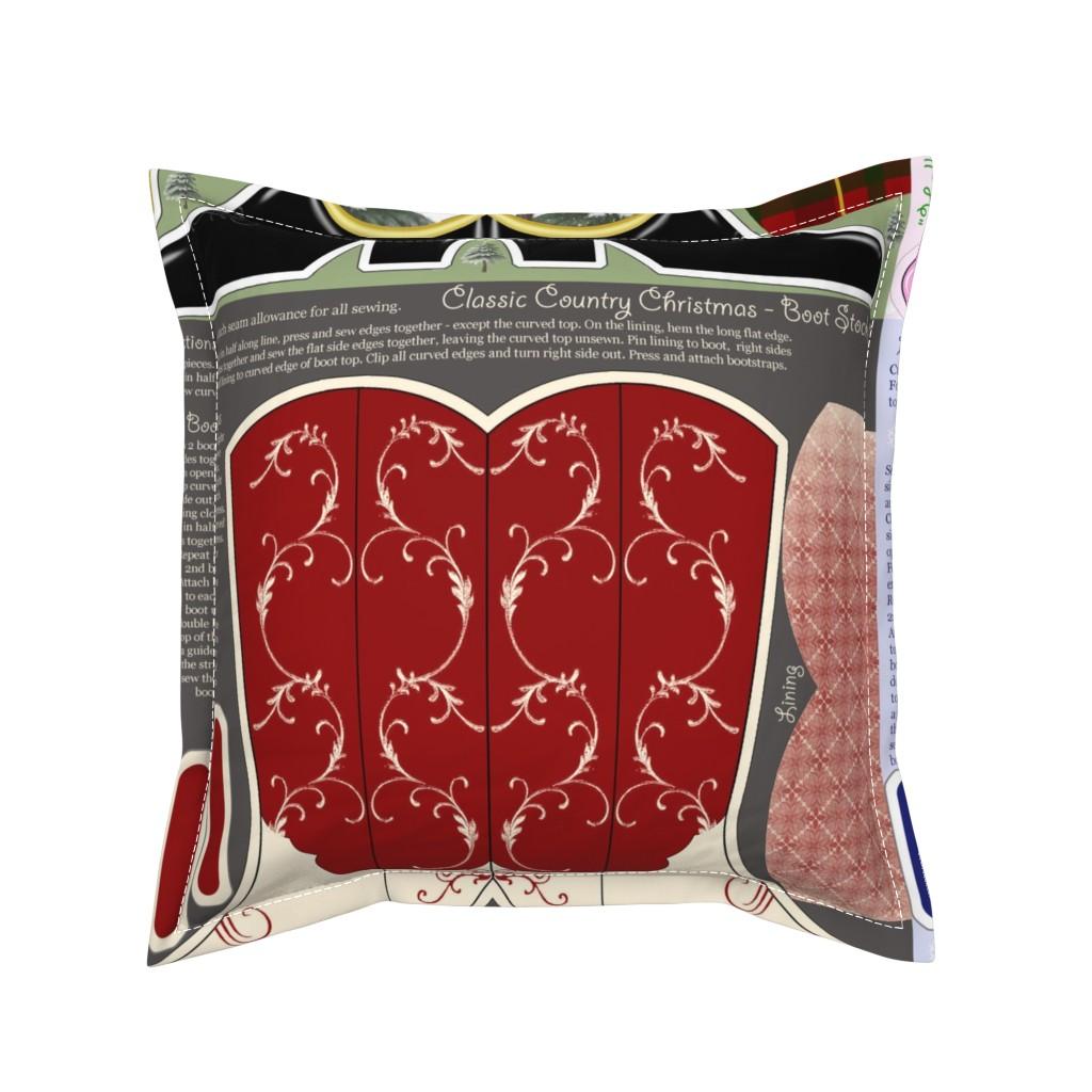 Serama Throw Pillow featuring Cowboy_Christmas_Stockings by suzy_albert_design