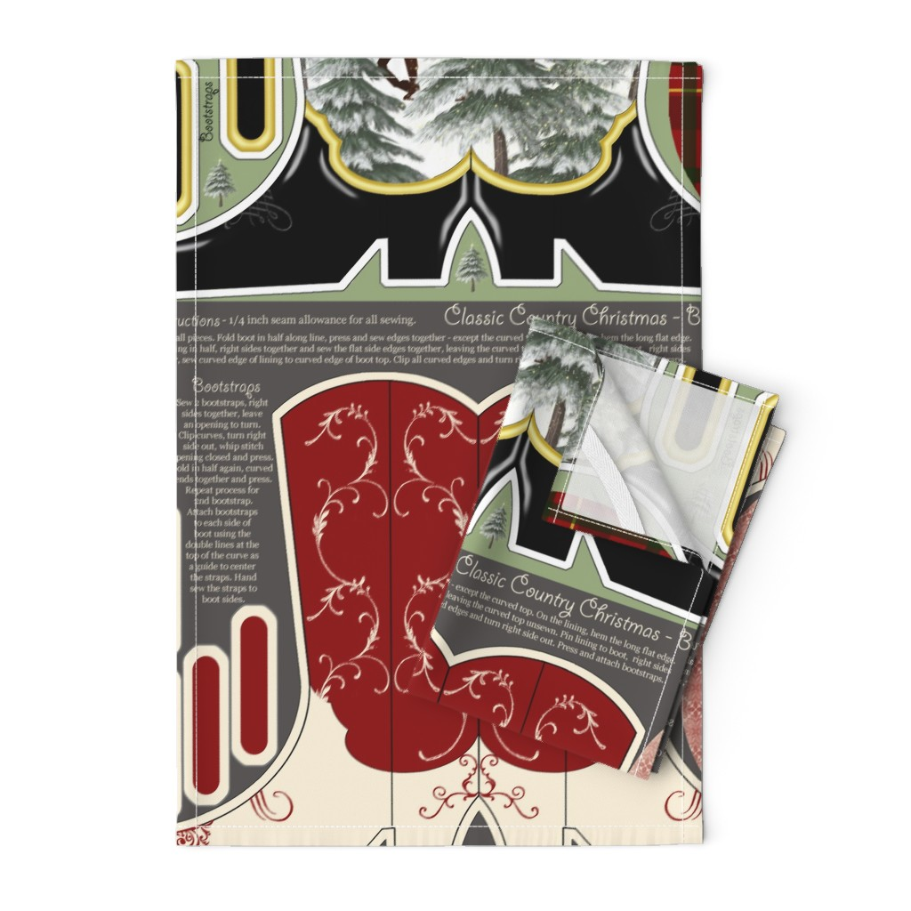 Orpington Tea Towels featuring Cowboy_Christmas_Stockings by suzy_albert_design