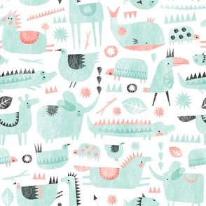 coral mint animal party - 2