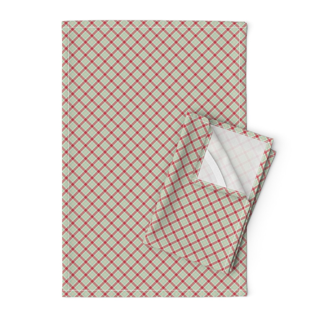 Orpington Tea Towels featuring red green plaid 2 by suziedesign