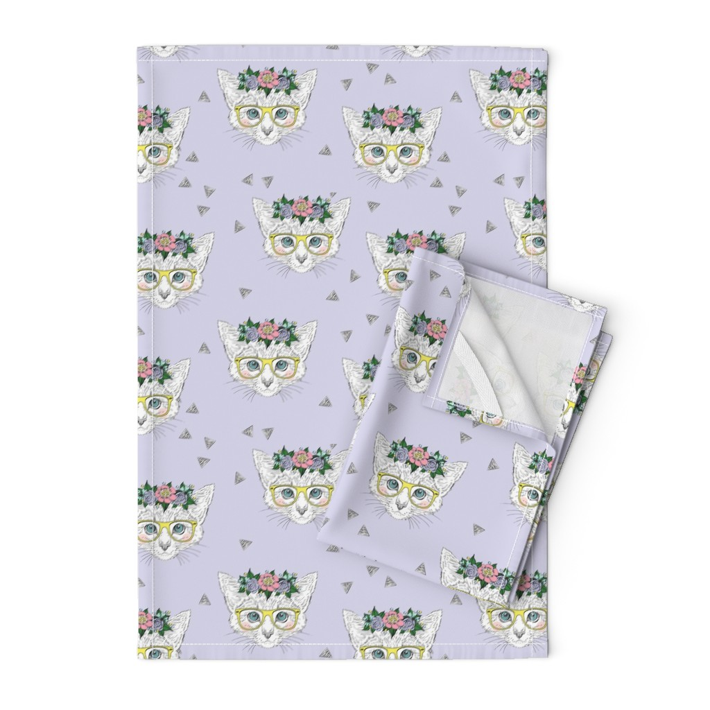 Orpington Tea Towels featuring Lilac Hipster Kittens  by taluna