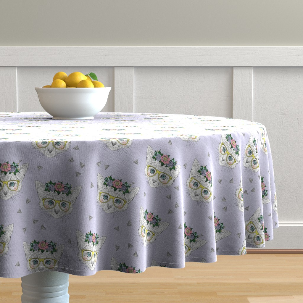 Malay Round Tablecloth featuring Lilac Hipster Kittens  by taluna