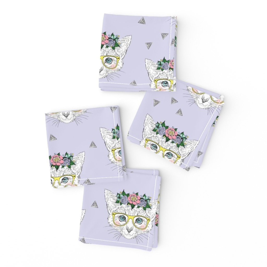 Frizzle Cocktail Napkins featuring Lilac Hipster Kittens  by taluna