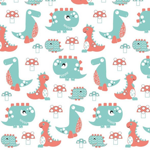 Dinosaur roar - coral and mint green