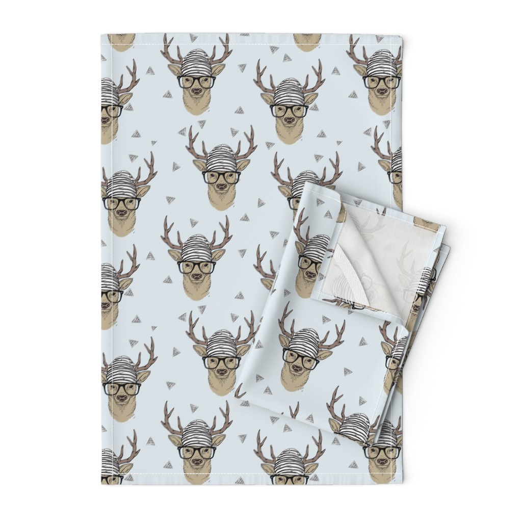 Orpington Tea Towels featuring Grey Hipster Deer by taluna