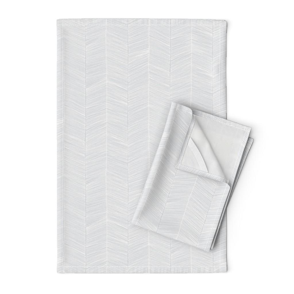 Orpington Tea Towels featuring Herringbone - Black by papercanoefabricshop
