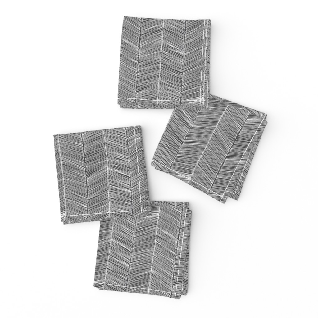 Frizzle Cocktail Napkins featuring Herringbone - Charcoal by papercanoefabricshop