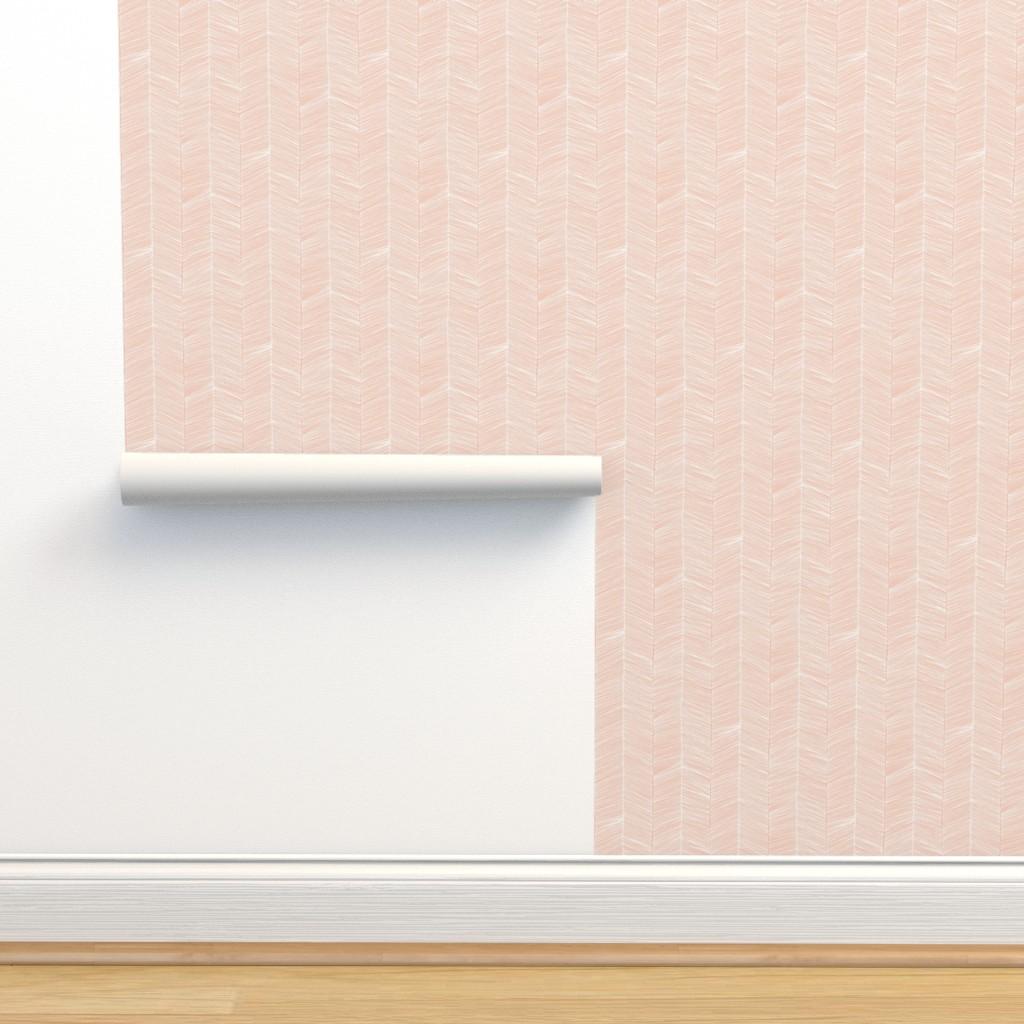Isobar Durable Wallpaper featuring Herringbone - Peach by papercanoefabricshop