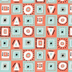 checkerboard mint coral
