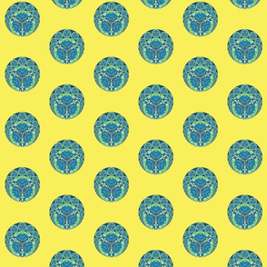 Chinese medallions in yellow