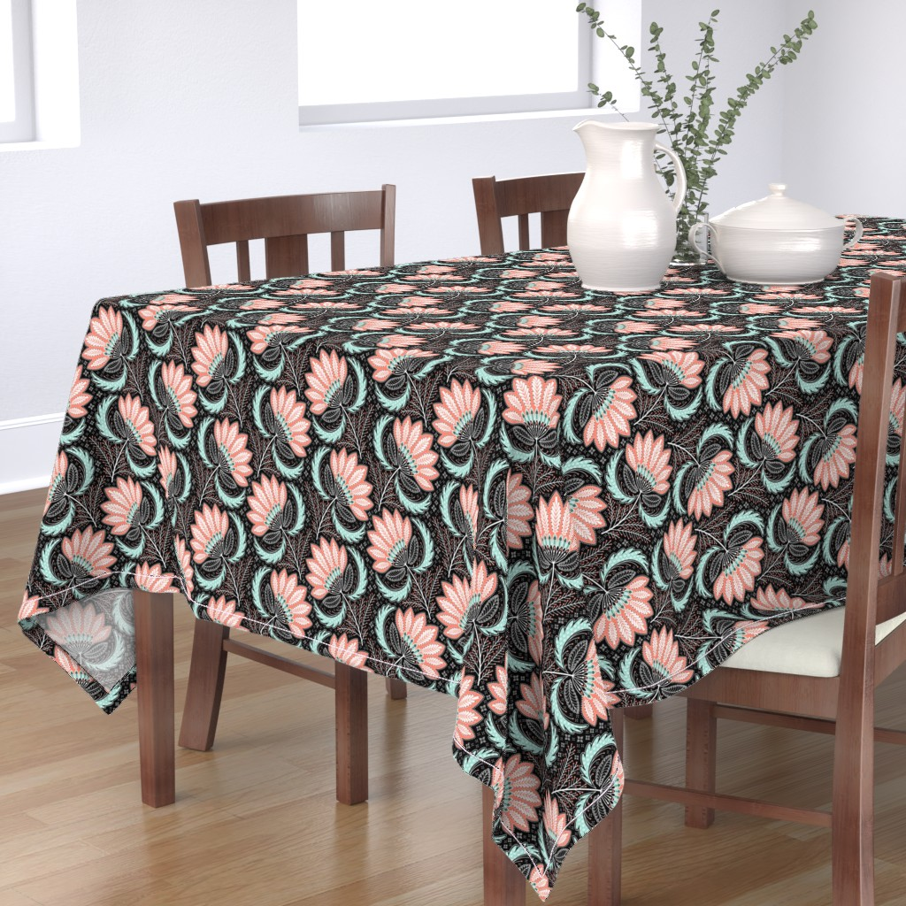 Bantam Rectangular Tablecloth featuring floral of coral, mint, black & white by catalinakim