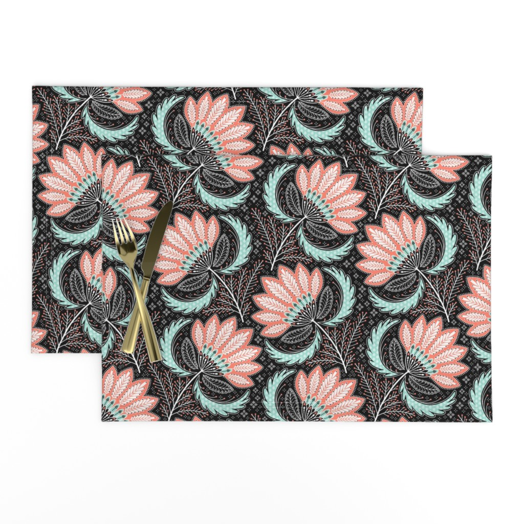 Lamona Cloth Placemats featuring floral of coral, mint, black & white by catalinakim