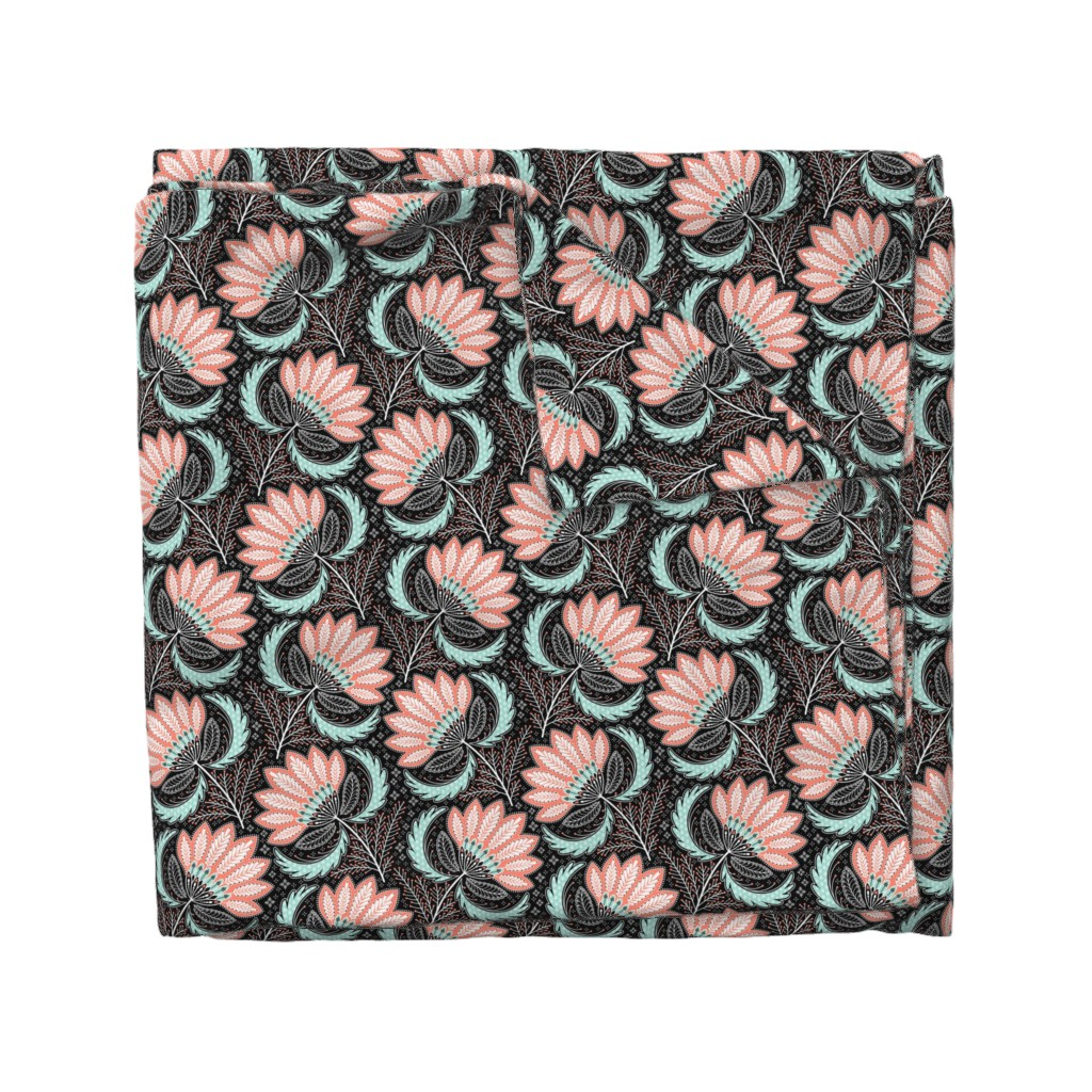Wyandotte Duvet Cover featuring floral of coral, mint, black & white by catalinakim
