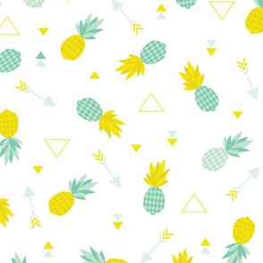 Cute geometric pineapple and indian summer arrows and triangle aztec detail fresh illustration print