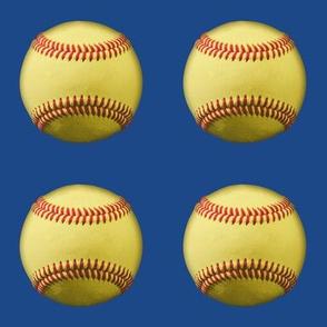 "3"" yellow softballs on blue"