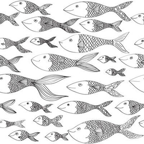 Doodle Fish in Black and White