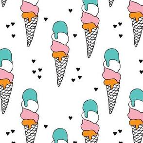 Cute ice cream popsicle cream cone cone candy illustration i love summer scandinavian illustration pattern