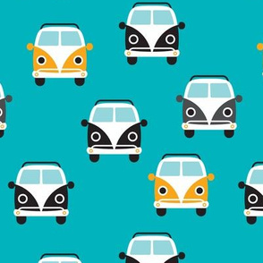 Cute summer vintage van vw bus design in blue and yellow for kids